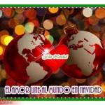 Postales con corazones y mensajes navideños