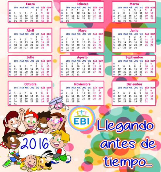 Calendarios 2016 con dibujos para niños para descargar e imprimir ...