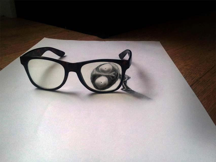 Dibujo blanco y negro 3D a lápiz (33)