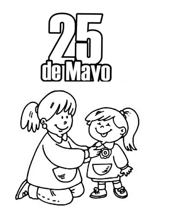 Imágenes del 25 de mayo para niños para pintar, colorear e ...