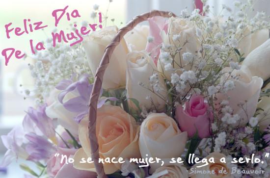 Feliz dia de la mujer con ramo de Flores