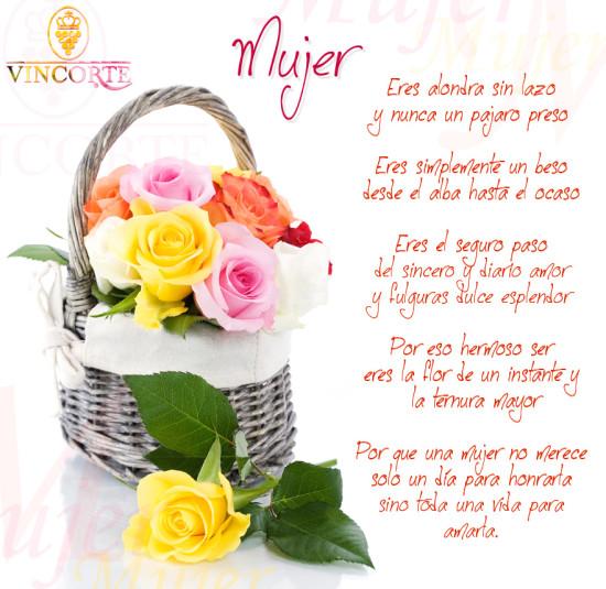 Lindas con Flores de Felíz Día de la Mujer con Mensajes para enviar