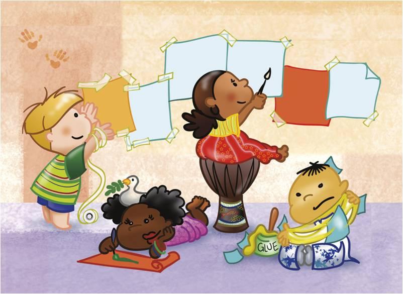 Im genes de ni os felices jugando y con frases tiernas for Murales infantiles para preescolar