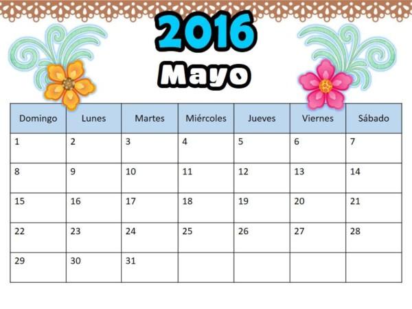 Imágenes de Calendarios mes de Mayo 2016 para imprimir ...
