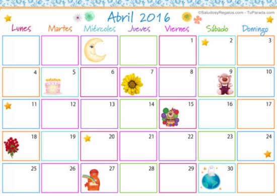Imágenes de Calendarios Infantiles de Abril 2016 para imprimir