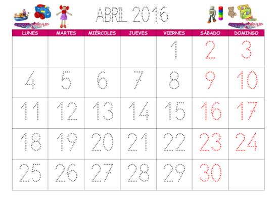 en Imágenes de Calendarios Infantiles de Abril 2016 para imprimir