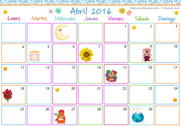 Im genes de calendarios infantiles de abril 2016 para for Calendario junio 2016 para imprimir