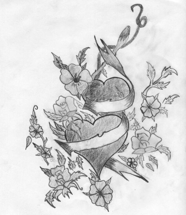 Dibujos artisticos de corazones hechos a lápiz
