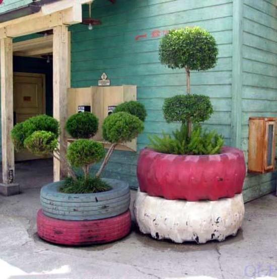 macetas recicladas para el jardin