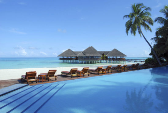 Tropical beach resort of maldives