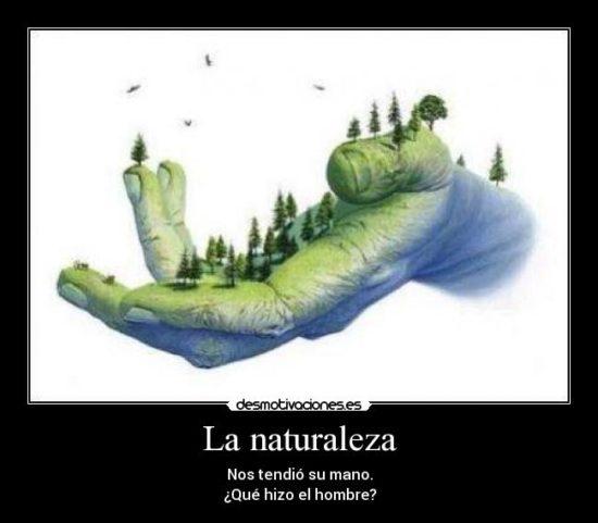 La naturaleza nos tendio su mano ¿ que haremos nosotros ?