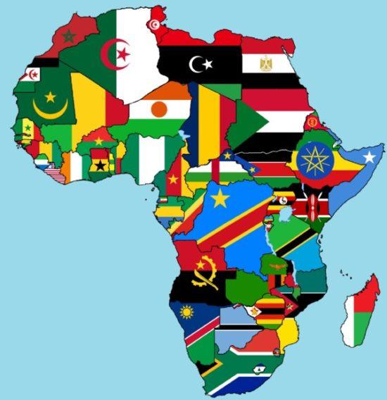 mapa africa banderas