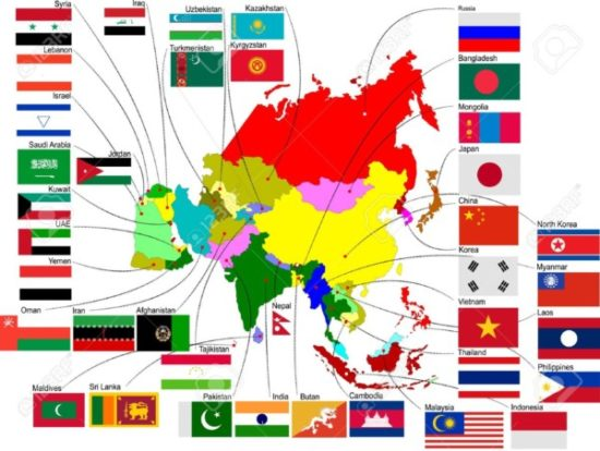 mapa asia banderas