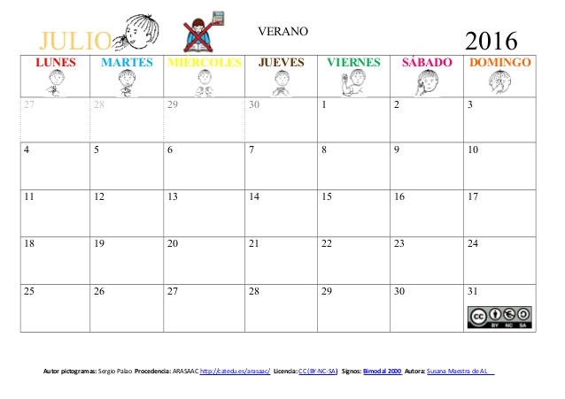 Calendario Julio 2016: imágenes para descargar e imprimir con ...