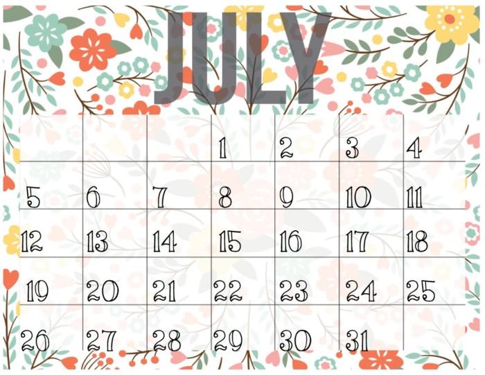 Calendario Julio 2016: imágenes para descargar e imprimir ...