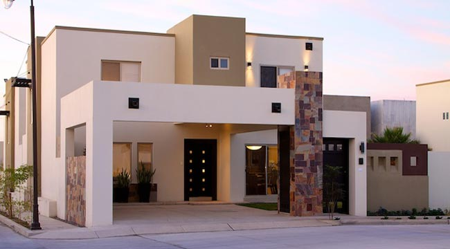 Fachadas de casas bonitas modernas de dos pisos simples for Plantas minimalistas para exteriores