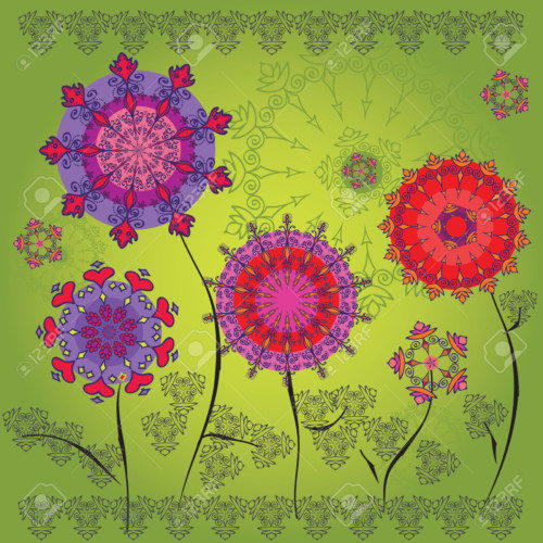 Colored mandala flowers on a green background
