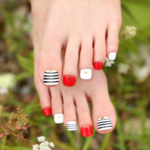 Pre-designed-font-b-Nail-b-font-Art-Tips-Fashion-Design-Striping-White-font-b-Black