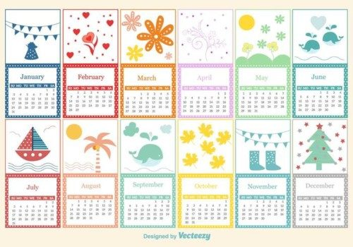 vector-childish-calendar-template