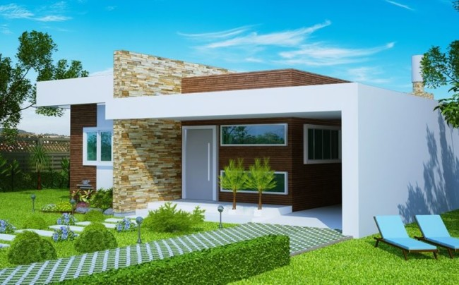 60 fachadas de casas modernas de un piso y dos pisos - Casa americana in legno ...