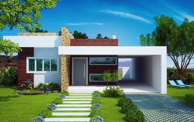 60 fachadas de casas modernas de un piso y dos pisos for Decoracion casas pequenas economicas