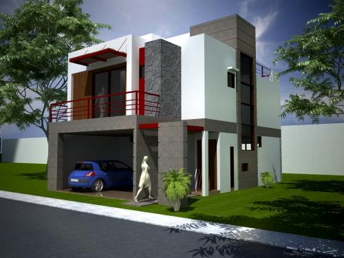 60 fachadas de casas modernas peque as de un piso y dos for Fachadas d casas d dos pisos
