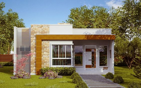 60 fachadas de casas modernas peque as de un piso y dos for Diseno de apartamentos de 45m2