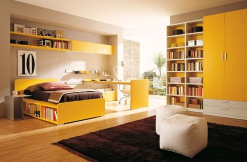 habitacion-juvenil-moderna-de-tonos-naranjas