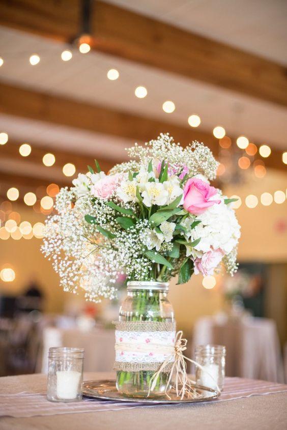 45 centros de mesa para boda con frascos botellas y velas - Centro nacional del vidrio ...