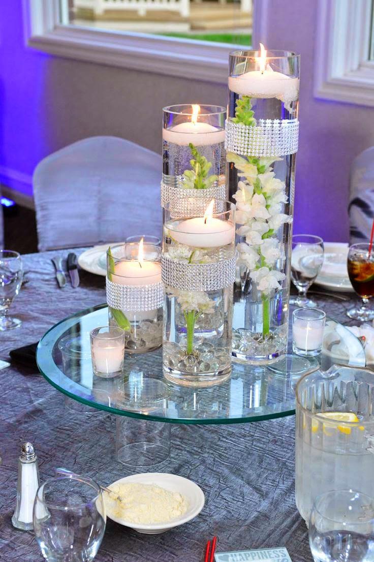 45 centros de mesa para boda con frascos botellas y velas - Centros con velas ...