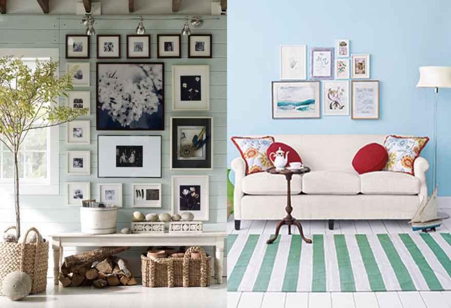 este es un ejemplo de la tendencia de ahora de decorar con cuadros las paredes de distintos tamaos con diferentes imgenes que no son fotografas