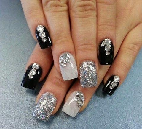 negro gris y plateado ms piedras una versin nica with ver uas decoradas