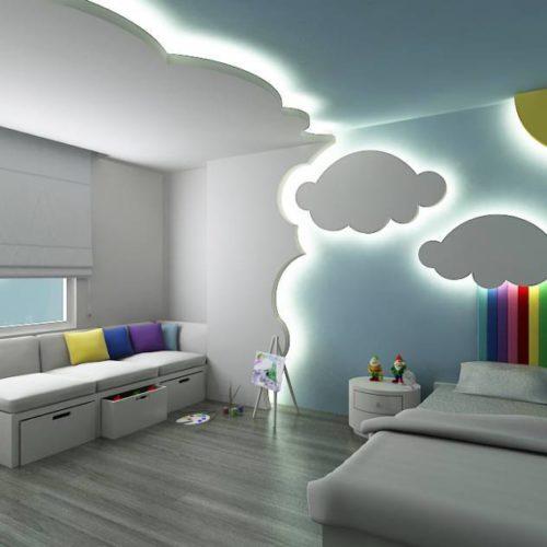 decoracin de una habitacin infantil jugando con las luces y las formas para simular el cielo