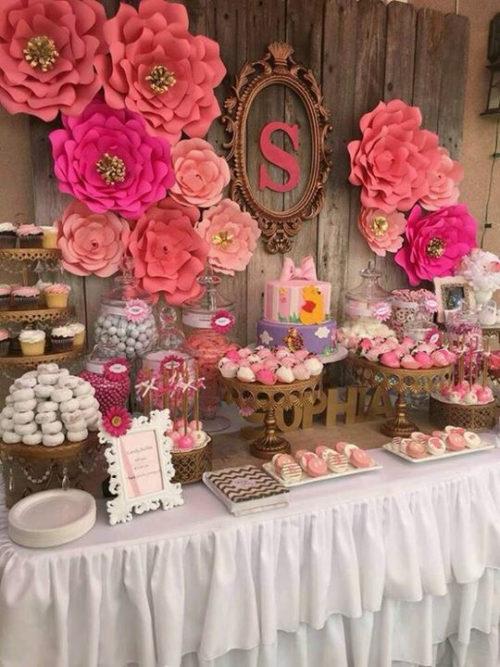 decoracin al estilo vintage con colores rosas ideal para festejos de cumpleaos de mujeres