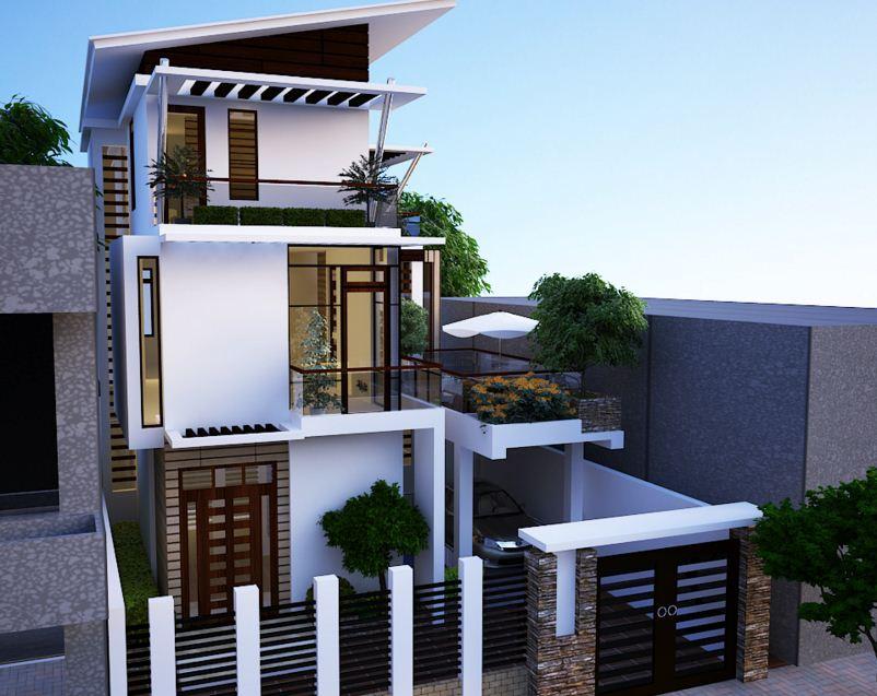 Fachadas para casas de tres pisos modernas 48 im genes for Modelo de casa con terraza