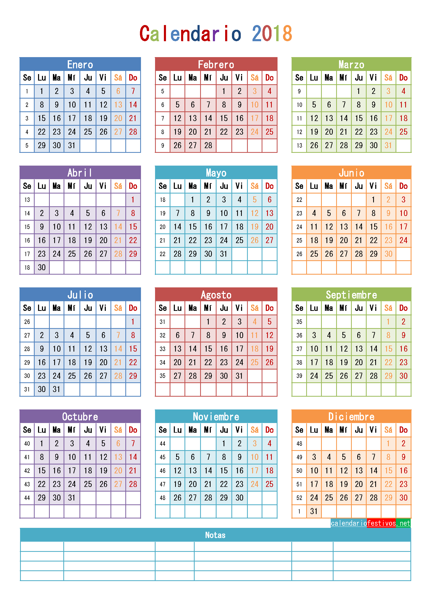 calendario julio agosto 2018