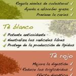 Infografías de los Beneficios de beber Té verde, rojo, blanco, negro