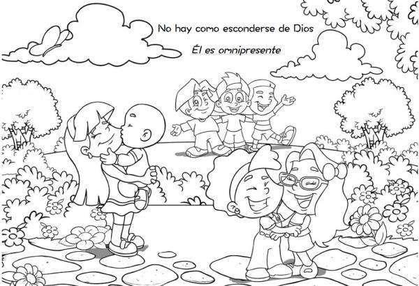 dibujo con frase religiosa para colorear en el da del nio