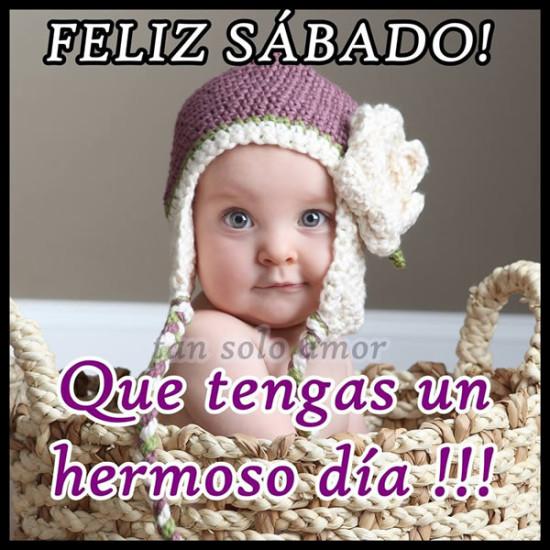 imágenes de Bebes con Frases Feliz Sabado (1)