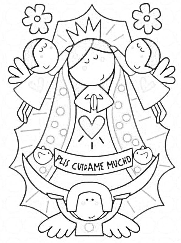 Dibujos Infantiles De La Vírgen De Guadalupe Para Colorear