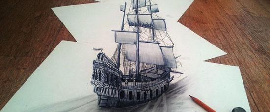 Dibujo blanco y negro 3D a lápiz (10)