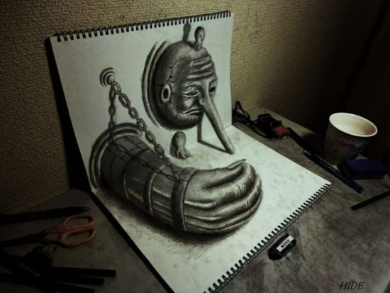 Dibujo blanco y negro 3D a lápiz (12)