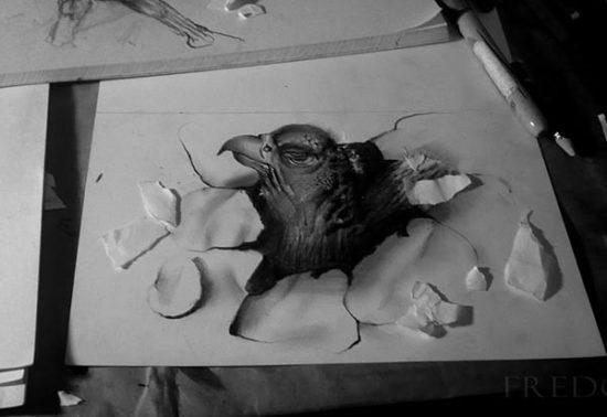 Dibujo blanco y negro 3D a lápiz (13)