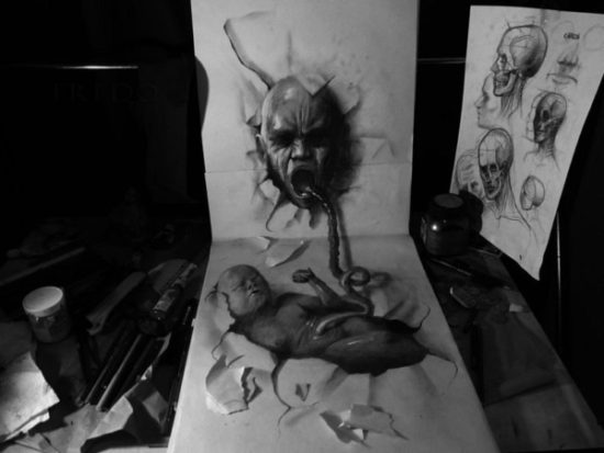 Dibujo blanco y negro 3D a lápiz (14)