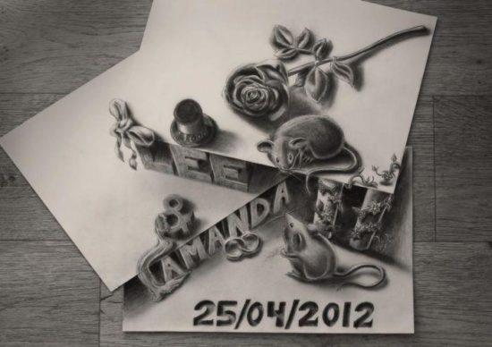 Dibujo blanco y negro 3D a lápiz (16)
