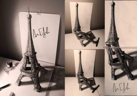 Dibujo blanco y negro 3D a lápiz (17)