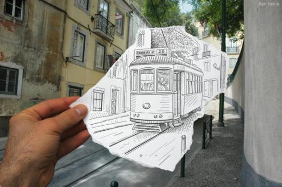 Dibujo blanco y negro 3D a lápiz (18)