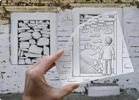 Dibujo blanco y negro 3D a lápiz (19)