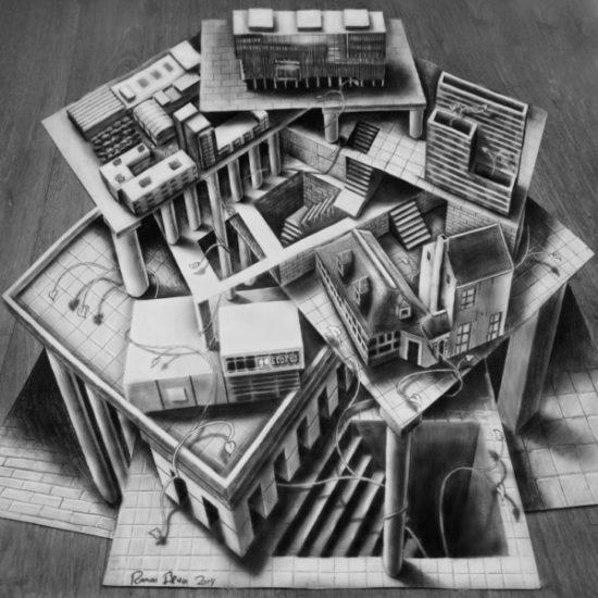 Dibujo blanco y negro 3D a lápiz (2)