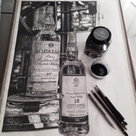 Dibujo blanco y negro 3D a lápiz (22)